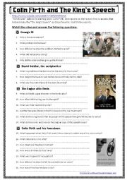 English Worksheet: Colin Firth and The King�s Speech (a video activity)