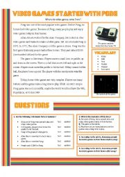 English Worksheet: Video Games Started With Pong