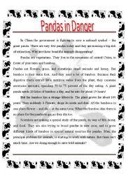 English Worksheet: Pandas in Danger