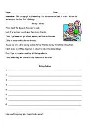 Sequencing Paragraph Baking Cookies Esl Worksheet By Mebecker Paragraph Structure Worksheet Sequencing Paragraph Baking Cookies