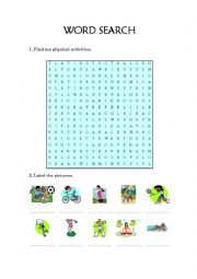 English Worksheet: sports word search