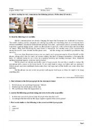 English Worksheet: Test about the mobile phones