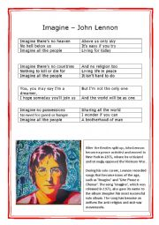 English Worksheet: Imagine� Song - Part One
