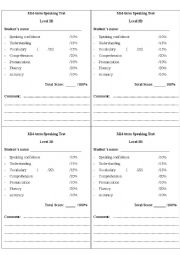 English Worksheet: sample grading for speaking test