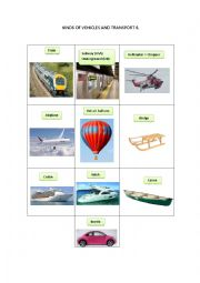 English Worksheet: KINDS OF VEHICLES AND TRANSPORT 6