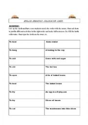 English Worksheet: English Breakfast collocation cards