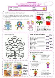 Exercises for elementary students *including:numbers1-10,clothes,colours,body parts,rooms,in,on,under,next to
