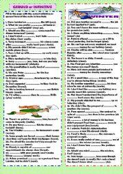 English Worksheet: Gerund or infinitive (+ key)