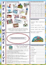 English Worksheet: The Place Where I Live Vocabulary Exercises