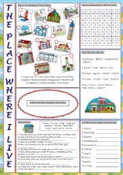 English Worksheet: The Place Where I Live Vocabulary Exercises