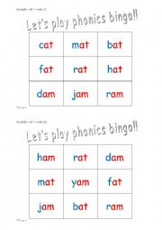 phonics 3 letter words cvc bingo 6 sets of 6 36 cards esl worksheet by matthew elsp. Black Bedroom Furniture Sets. Home Design Ideas