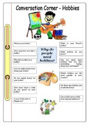 English Worksheet: Conversation Corner: Hobbies