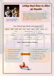 English Worksheet: Living Next Door to Alice  by Smokie