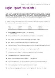 English Worksheet: Common English-Spanish False Friends 3: Cloze Test + Key