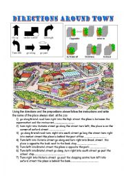 English Worksheet: directions around town