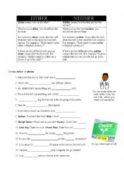 English Worksheet: Either Or / Neither Nor
