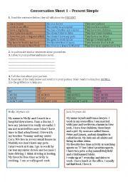 Conversation sheet for beginners - Present Simple