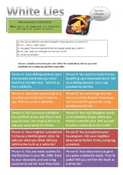 English Worksheet: White Lies Role Play / Tag questions