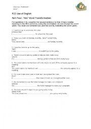 English Worksheet: FCE Key word transformation