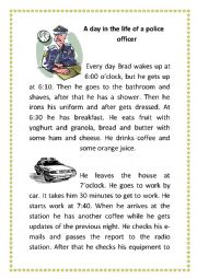 English Worksheet: A day in the life of a police officer