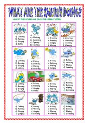 English Worksheet: WHAT ARE THE SMURFS DOING ?