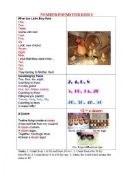 English Worksheet: NUMBER POEMS FOR KIDS 2 + a pictionary