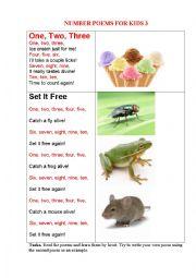 English Worksheet: NUMBER POEMS FOR KIDS