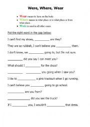 English Worksheet: wear_where_were