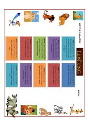 English Worksheet: the lion king- MEET THE CHARACTERS