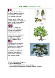 English Worksheet: TREES (a poem)