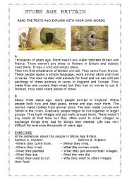 Stone Age Worksheets - Sharebrowse
