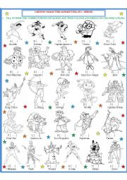 English Worksheet: Cartoon Character Fill in 2 - Heroes