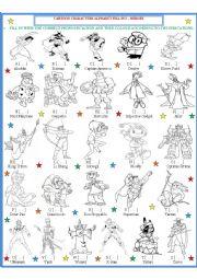 English Worksheet: Cartoon Character Fill in 2 - Heroes