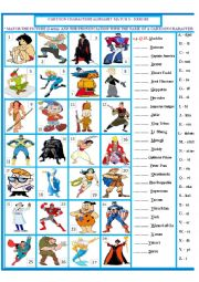 English Worksheet: Cartoon Character match 3 - Heroes