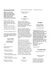 English Worksheet: The best poem