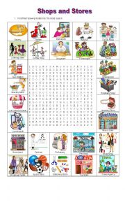 English Worksheet: SHOPS AND STORES