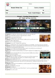English Worksheet: Reading Comprehension Test- Tourism and Hospitality