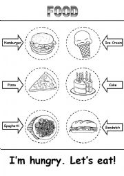 English worksheet: Food Activity - Read, Cut, Color, Paste