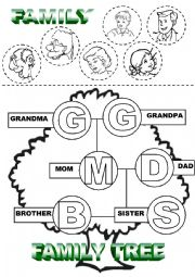 English worksheet: Family Tree Cut and Color