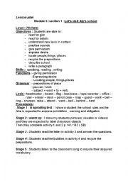 English Worksheet: Let�s visit Aly�s school lesson plan