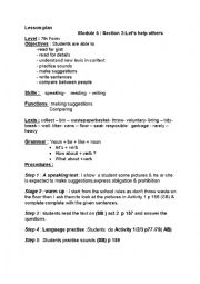 English Worksheet: let�s help others lesson plan