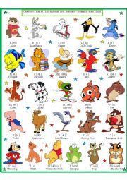 English Worksheet: Cartoon Characters Pictionary -male 1