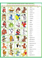 English Worksheet: Cartoon Characters Matching Exercise -male 3