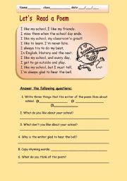 English Worksheet: a poem about school