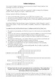 English Worksheet: Multiple intelligences crossword