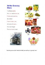 English Worksheet: GROCERY STORE (a poem + a pictionary)