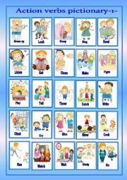 English Worksheet: Action verbs pictionary-1-