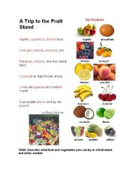 English Worksheet: FRUIT STAND ( a poem + a pictionaty)