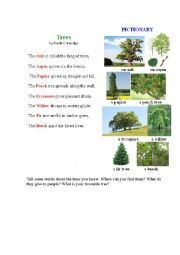 English Worksheet: TREES 3 (a poem + a pictionary)