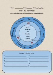 English Worksheet: Sentences wheel